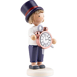 Flax Haired Children Boy with Alarm Clock - 5 cm / 2 inch