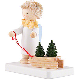 Flax Haired Angel with Sled and Tree Saplings - 5 cm / 2 inch