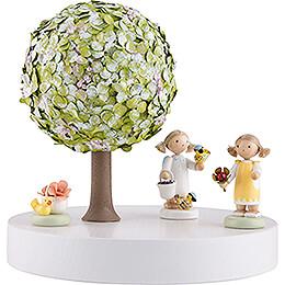 Apfelbaum auf Scheibe - ohne Figuren - Frühling - 13 cm