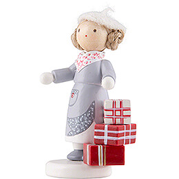 Flax Haired Children Girl with Presents - Edition Flade & Friends - 5 cm / 2 inch