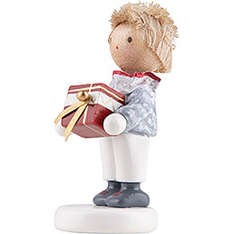 Flax Haired Children Little Boy with Present Box - Edition Flade & Friends - 4,5 cm / 1.8 inch
