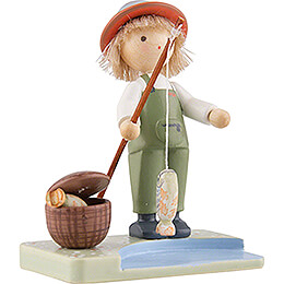 Flax Haired Children Boy with Rainbow Trouts - Edition Flade & Friends - 5 cm / 2 inch