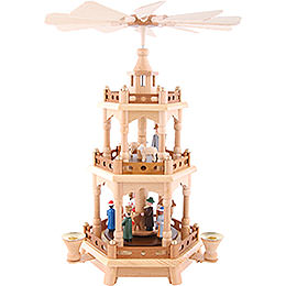 3-Tier Pyramid - Nativity, Colored Figures - 42 cm / 16.5 inch