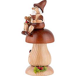 Räuchermännchen Wichtel auf Braunkappe - 17 cm