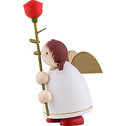 Guardian Angel with Rose, White - 8 cm / 3.1 inch
