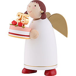 Guardian Angel with Fancy Cake, White - 8 cm / 3.1 inch