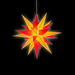 Herrnhuter Stern A1e gelb/rot Kunststoff - 13 cm