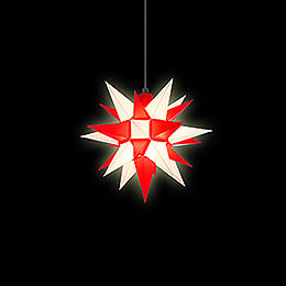 Herrnhuter Stern A4 weiss/rot Kunststoff - 40 cm