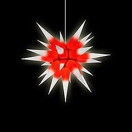 Herrnhuter Moravian Star I6 White with Red Core Paper - 60 cm / 23.6 inch