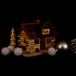 Smoking Hut - Charcoal Hut with Wood Worker and LED - 10,5 cm / 4 inch