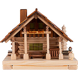 Smoking Lighted House - Freiberg Hut with Figurine - 25 cm / 9.8 inch