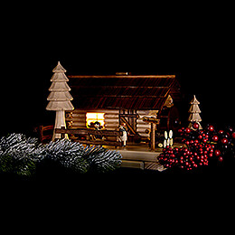 Smoking Lighted House - Old Mill with Figurines - 20 cm / 7.9 inch