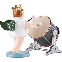 Angel with Crown and Big Orchestra Drum - 6,5 cm / 2.6 inch