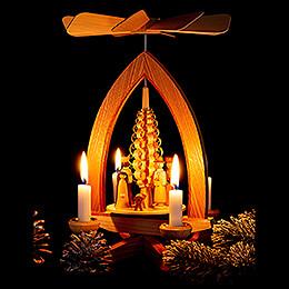 1-stöckige Pyramide Christi Geburt - natur - 28 cm