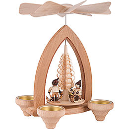 1-Tier Pyramid - Winter Children - Natural - 26 cm / 10.2 inch