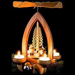 1-Tier Pyramid - Christmas Motive - Natural - 28 cm / 11 inch