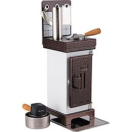 Räucherkerzen- und Duftölofen weiß/kupfer - 19 cm
