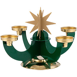 Candle Holder with Incense Cone Option - Green - 16 cm / 6.3 inch