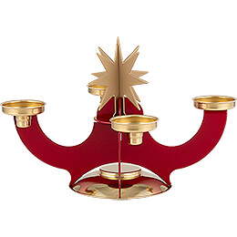 Candle Holder with Incense Cone Option - Red - 16 cm / 6.3 inch