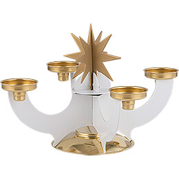 Candle Holder with Incense Cone Option - White - 16 cm / 6.3 inch