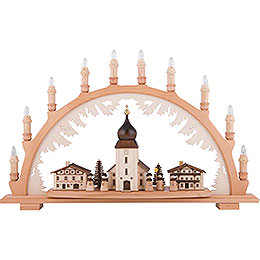 Candle Arch - Mountain Church with Carolers - 66x43 cm / 26x16.9 inch