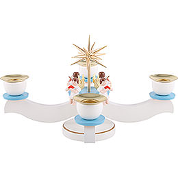 Candle Holder - Advent Blue/White with Sitting Angels - 29x29x19 cm / 11.5x11.5x7 inch