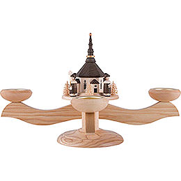 Candle Holder - Seiffen Church with Carolers Natural - 26 cm / 10.2 inch