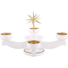 Advent Candle Holder - Star, for Thick Candles Or Tea Candles, White - 19 cm / 7.5 inch