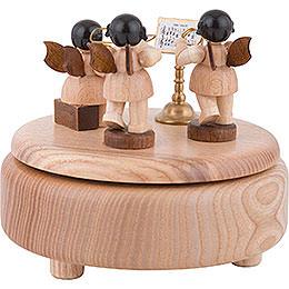Spieldose mit Engeln, natur - 12,5 cm