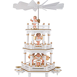 3-Tier Pyramid - White-Gold - without Figurines - 35 cm / 13.8 inch