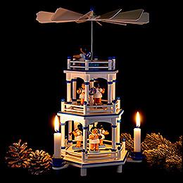 3-stöckige Pyramide weiß-blau Instrumenten-Engel mit blauen Flügeln  - 35 cm