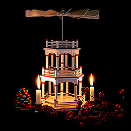3-Tier Pyramid - White-Red - without Figurines - 35 cm / 13.8 inch