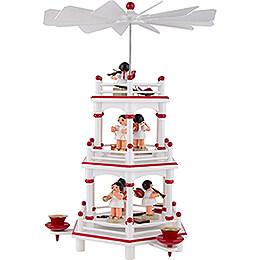 3-stöckige Pyramide weiß-rot Instrumenten-Engel mit roten Flügeln  - 35 cm