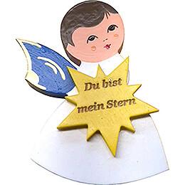 Magnetpins 3er-Set - Engel mit Herz, Stern, Wolke - Blaue Flügel - mit Sprüchen - 7,5 cm
