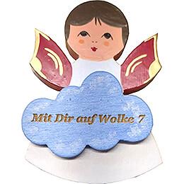Magnetpins 3er-Set - Engel mit Herz, Stern, Wolke - Rote Flügel - mit Sprüchen - 7,5 cm