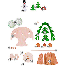 Handicraft Set - 1-Tier Pyramid - Snowman - 18 cm / 7.1 inch
