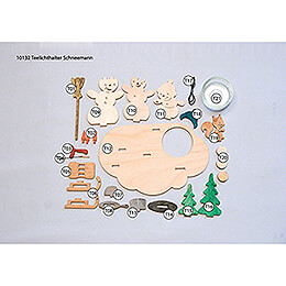 Handicraft Set - Tea Light Holder - Snowman - 10,5 cm / 4.1 inch