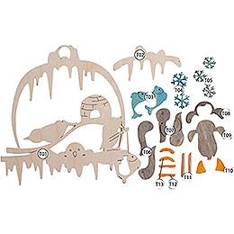Handicraft Set - Window Picture - Penguins - 21 cm / 8.3 inch