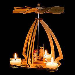 1-Tier Pyramid with Nativity Scene - 24 cm / 9.4 inch