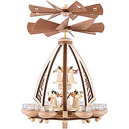 2-stöckige Pyramide Engel mit zwei gegenläufigen Flügelrädern - 43 cm