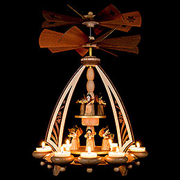 2-Tier Pyramid - Angels with Two Counter Rotating Winged Wheels - 43 cm / 17 inch