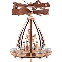 2-stöckige Pyramide Weihnachtskrippe - gegenläufig - 43 cm