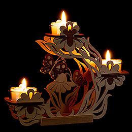 Tea Light Candle Holder - Flowers and Butterflies - 17 cm / 6.7 inch