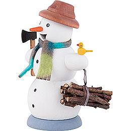 Räuchermännchen Schneemann Holzsammler - 13 cm