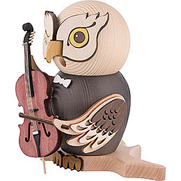 Smoker - Owl with Cello - 15 cm / 5.9 inch