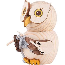 Mini Owl with Knitting - 7 cm / 2.8 inch
