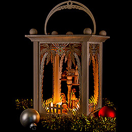 Pyramid Lantern - Palm Trees and Nativity - 38 cm / 15 inch