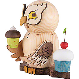 Smoker - Owl with Muffins - 15 cm / 5.9 inch