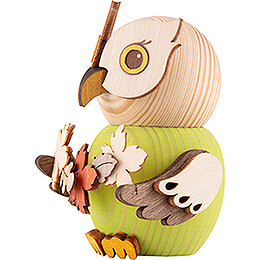 Mini Owl with Autumn Leaves - 7 cm / 2.8 inch