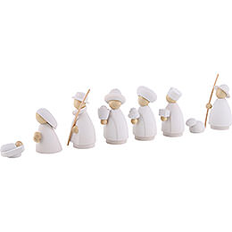 Nativity Set of 8 Pieces White/Natural - Small - 7 cm / 3.1 inch